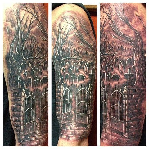 Cool Graveyard Tattoo Design On Arm For Boys