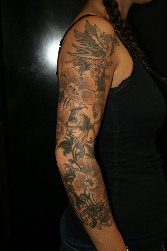 Cool Hibiscus Flower Tattoo On Arm For Girls