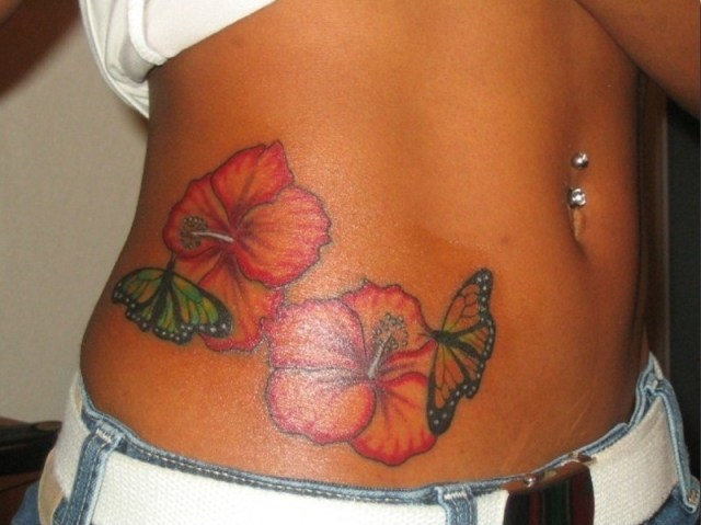 Cool Hibiscus Flowers Tattoo On Side Belly For Girls