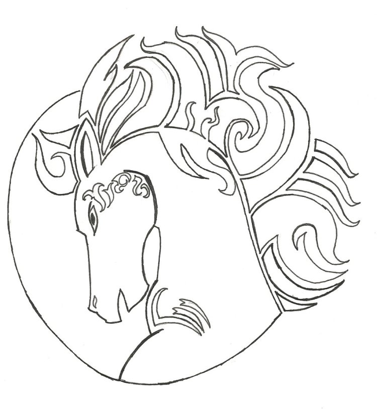 Cool Horse Head Tattoo Sample For Girls