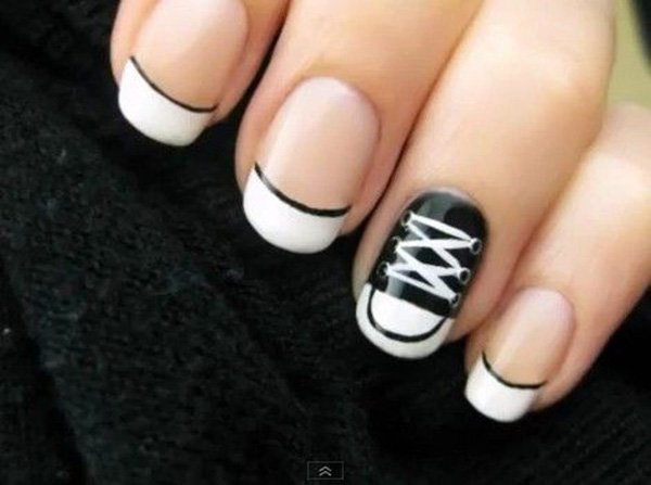 Cool Shoe Black And White Nail Art Design