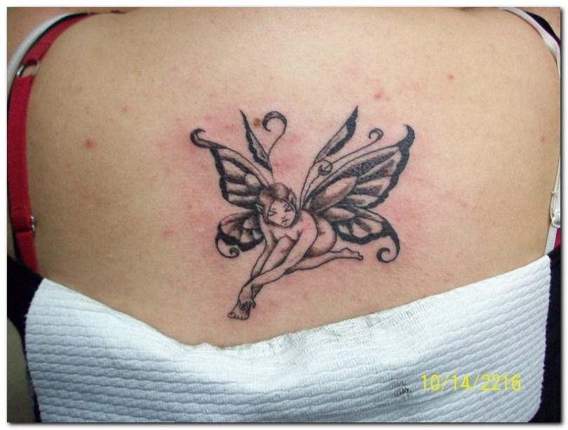 Cool Small Fairy Tattoo On Back For Girls