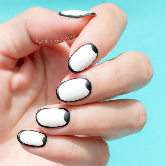 Coolest Black Half Moon Nail With Full White