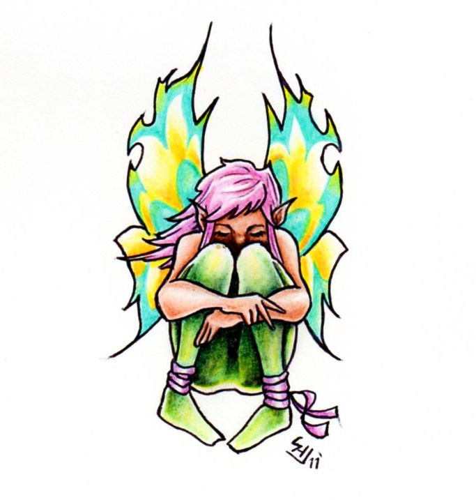 Coolest Fairy Sitting Tattoo Sample For Girls