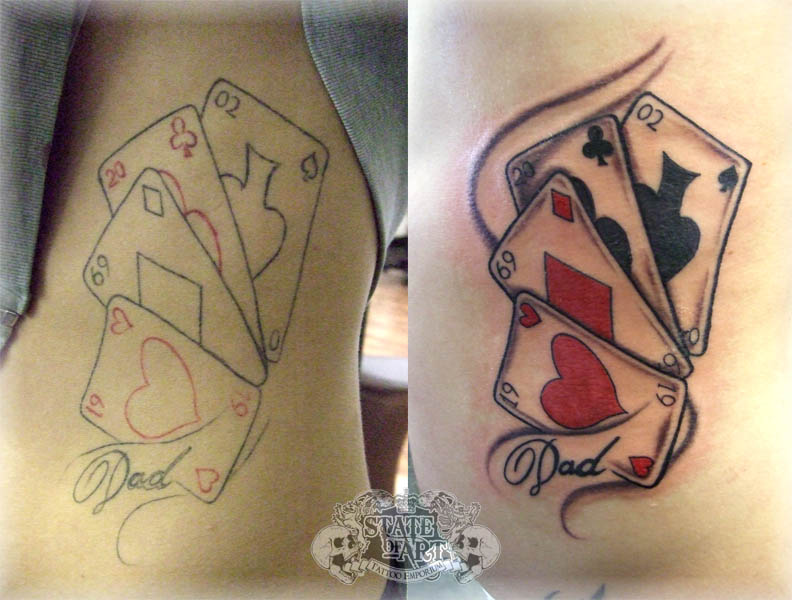 Coolest Playing Cards n Dice Tattoo Design For Girls