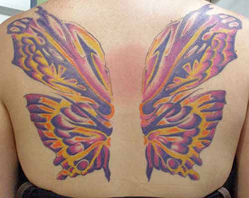 Crazy Funky Wings Tattoo Design On Back Body For Girls