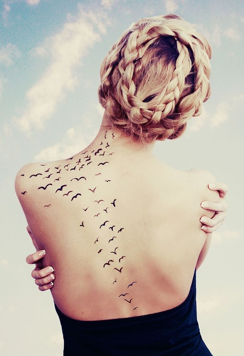 Creative Feminine Birds Tattoo On Back For Girls