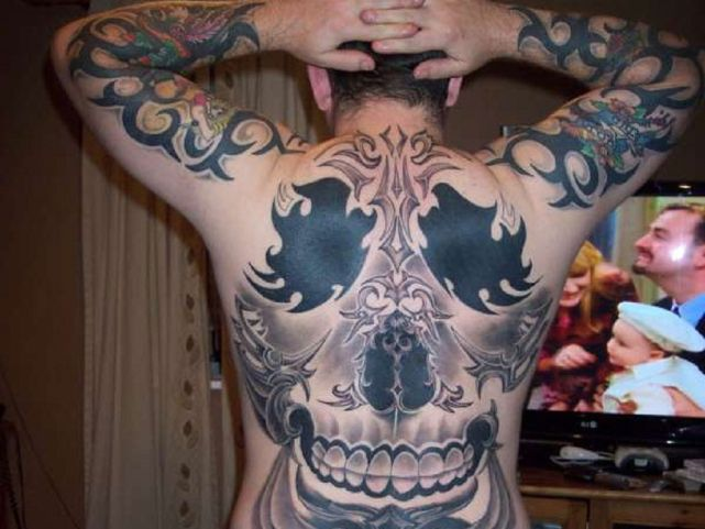 Creative Full Back Skull Tattoo Design For Boys
