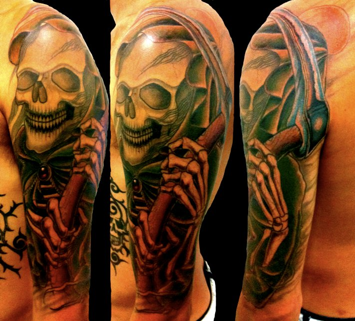 Creative Grim Reaper Tattoo For Men On Sleeve For Boys