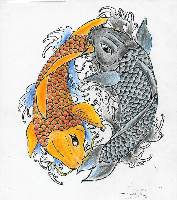Creative Ying Yang Koi Fish Tattoo Design Boys & Girls