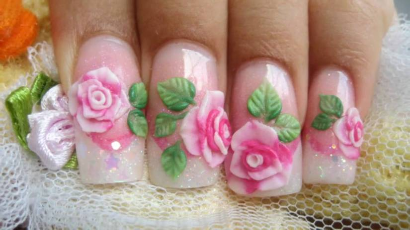 Crystal Color With Green Leaves 3D Rose Flower Nail Art