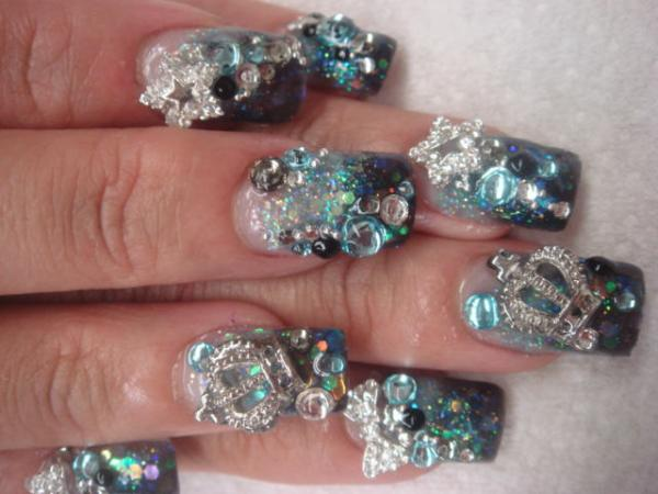 Crystal Star And Crown 3D Nail Art