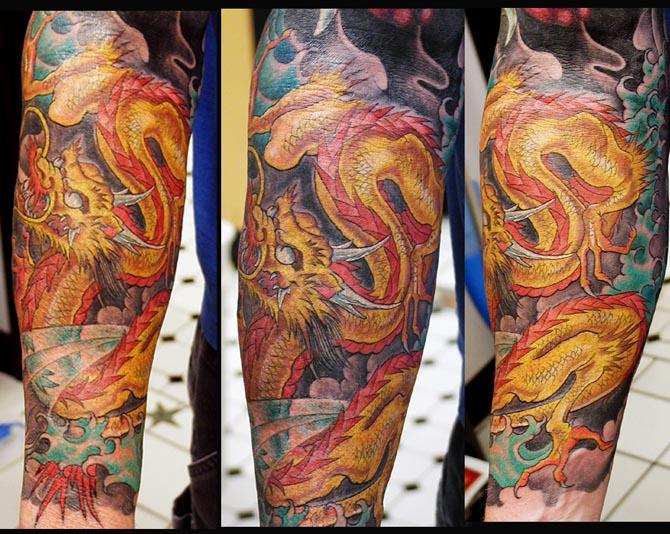 Custom Dragon Half Sleeve Tattoo Design For Boys