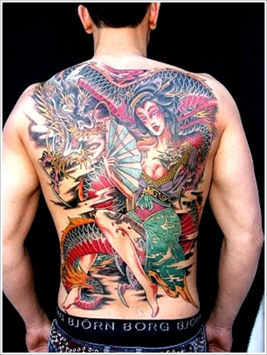 Custom Geisha Tattoo Design On Back For Boys