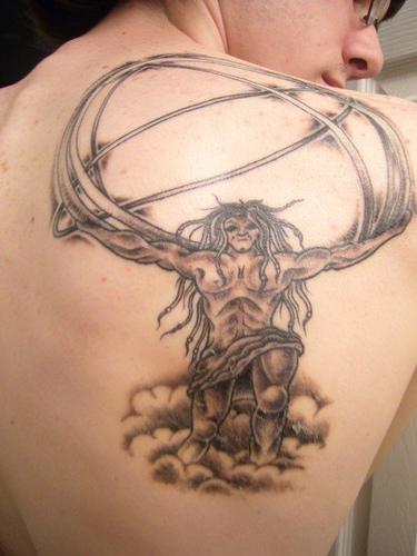 Custom Greek God Tattoo Design On Back For Boys