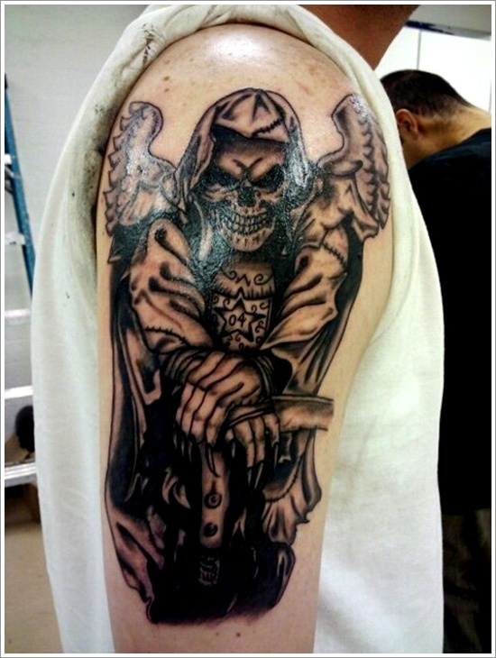 Custom Grim Reaper Tattoo On Right Sleeve For Boys