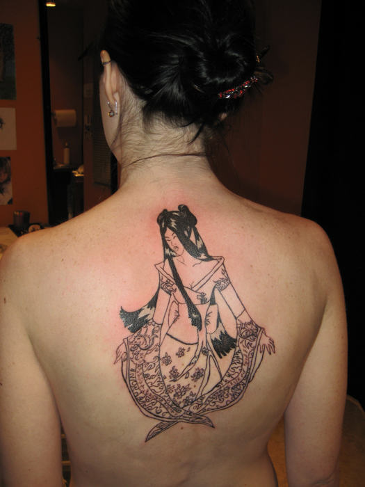 Custom Hippie Tattoo On Back For Girls