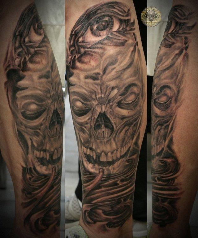 Custom Horror Eye n Bio Skull Tattoo Design For Boys