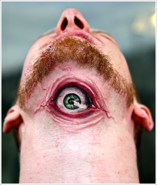 Cute Funny Eye Tattoo On Neck For Boys