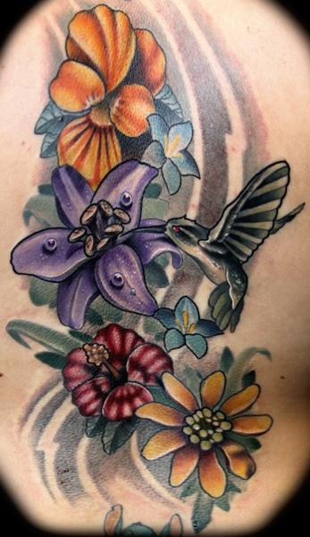 Cute Hummingbird nd Flowers Tattoo Design For Girls
