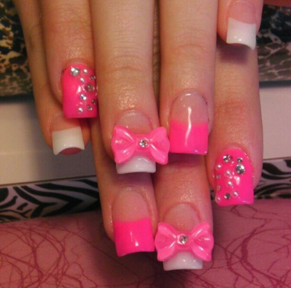 Cutest 3D Pink Nail Art In A Bow 3D Nail Art