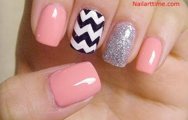 Cutest Baby Pink And Stripes Accent Nail Design
