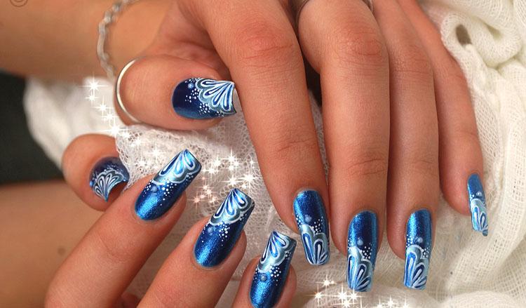 Cutest Blue Nail With Unique Design