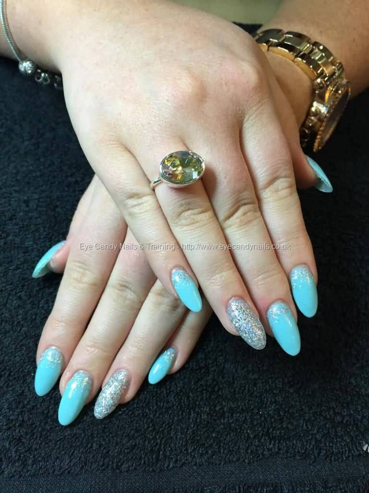 Cutest Hands With Blue Color paint Almond Shaped Acrylic Nail Art