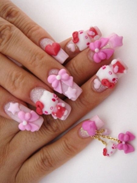Cutest Kitty And Bow In Pink 3D Acrylic Nail Art