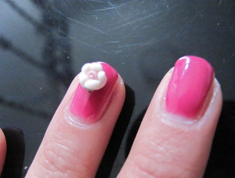 Cutest Pink Color Nail With White Color 3D Rose Flower Nail Art