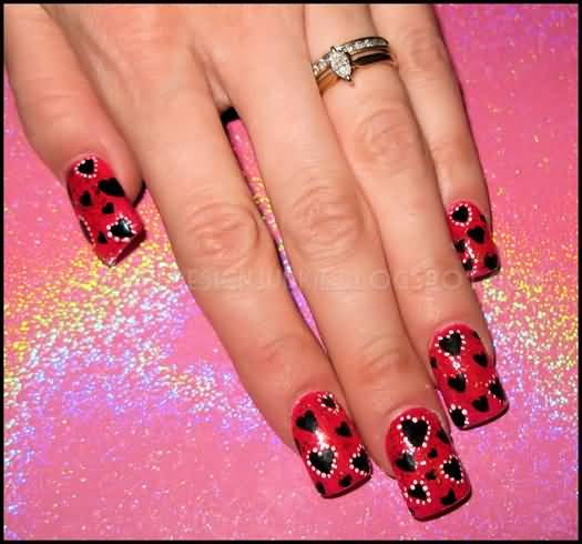 Cutest Red And Black Nails With Heart Shape Design