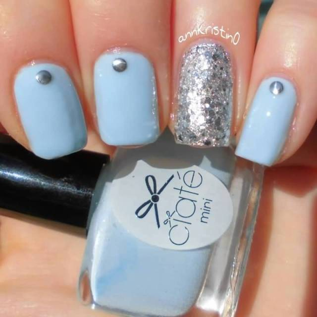 Cutest Sky Blue Color With Silver Color Glitter Accent Nail Art