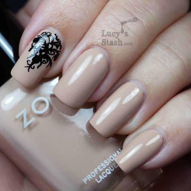 Dashing Black And Beige Nail Art With Tree Design