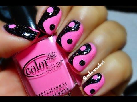 Dashing Black And Pink Nails With Yin Yan Design