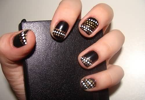 Dashing Black Nail Art Design With Golden And White Color Dot