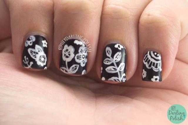 Dashing Flower Black And White Nails