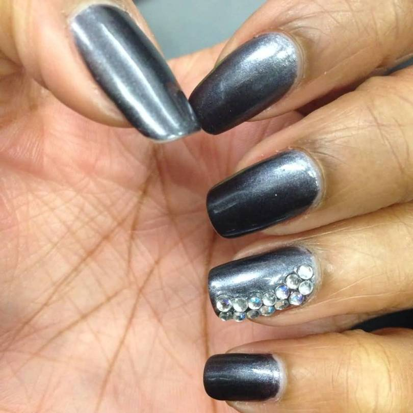 Dashing Silver Color Paint With Accent Nail Art