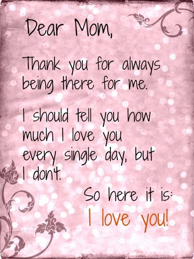 Dear Mom I Love You Happy Mother's Day Wishes Quotes & Poem Image