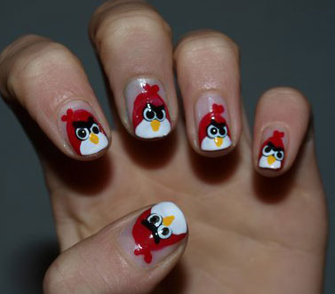 Designer Red Color Paint With Angry Bird Nail Art Design