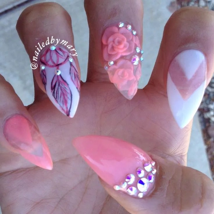 Different Sharp Nail With Pink Rose 3D Acrylic Nail Art 3d Acrylic Paint Nail Art