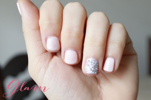 Divine White And Sparkling Silver Accent Nail Design