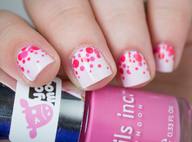 Divine White color Paint With Red Dotes Pink Acrylic Nail Art Design