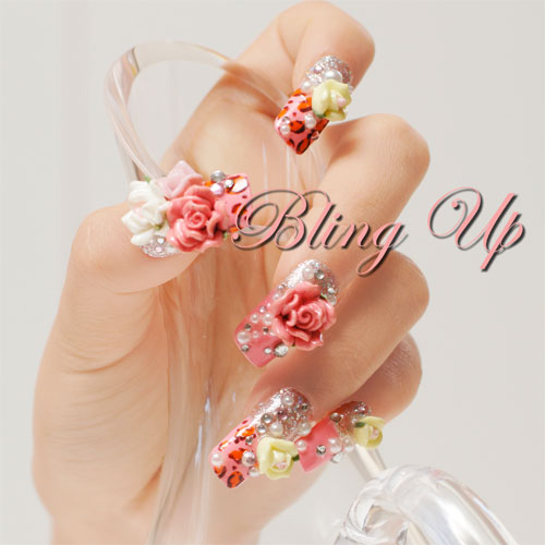 Divining Beautiful With Pink Rose And White Color 3D Nail Art