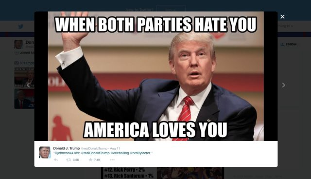 Donald Trump Meme When Both Parties Hate You America Loves You Picture
