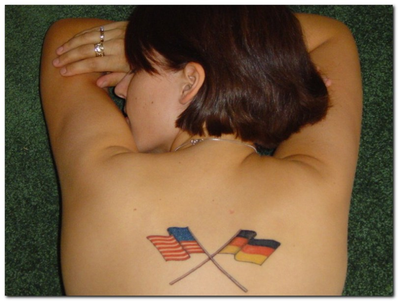 Extremely Flags Tattoo On Back For Girls