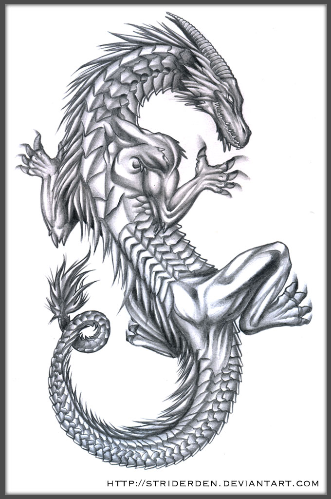 Elegant Dragon Tattoo For Girls