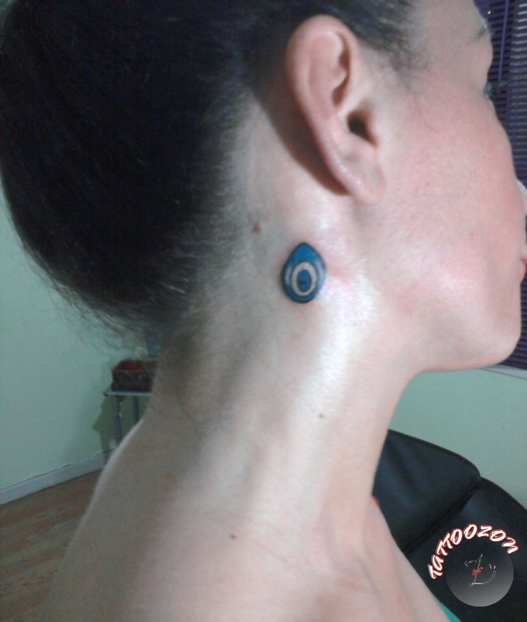 Elegant Evil Eye Tattoo On Neck For Girls