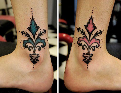 Elegant Fleur De Lis Tattoo On Ankles For Boys And Girls