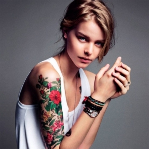 Elegant Half Sleeve Flowers Tattoo Design For Women