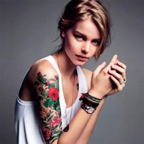 Elegant Half Sleeve Flowers Tattoo Design For Women